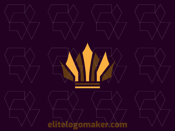 Create a vector logo for your company in the shape of a crown with an abstract style, the colors used were brown and yellow.