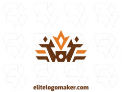 Ideal logo for different businesses, in the shape of a crown, with creative design and symmetric style.