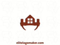 Simple logo composed of abstract shapes, forming a crown combined with two hammers and a house, with the color brown.