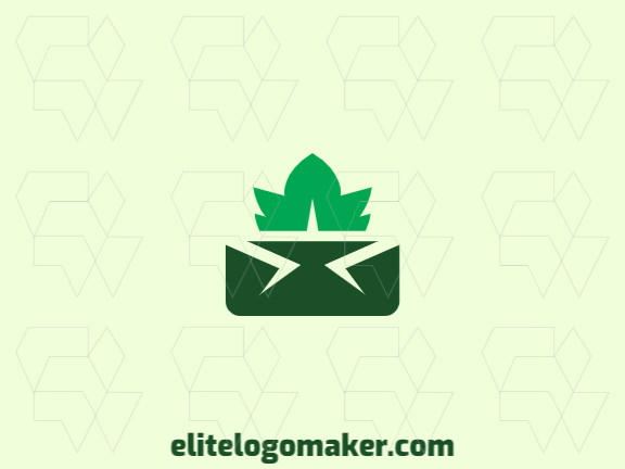 Abstract logo design consists of the combination of a crown with a shape of a leaf with green colors.