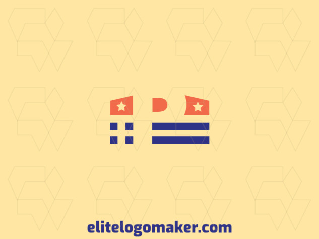 "Minimalist logo with a refined design, forming a crown combined with a letter ""P"", the colors used was blue and orange."