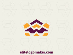 Abstract logo with the shape of a crown composed of arrows with yellow and purple colors.