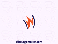 "Exclusive logo for sale, in the shape of a crown combined with a letter ""W"", the colors used was blue and orange."