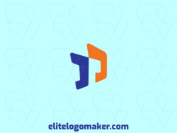 "Create a vector logo for your company in the shape of a letter ""D"" combined with a letter ""P"", with an initial letter style, the colors used were blue and orange."