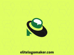 Simple logo design in the shape of a hat combined with a chat box with green, and black colors.