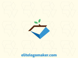 Simple logo design in the shape of a diamond combined with a plant with blue, brown and green colors.