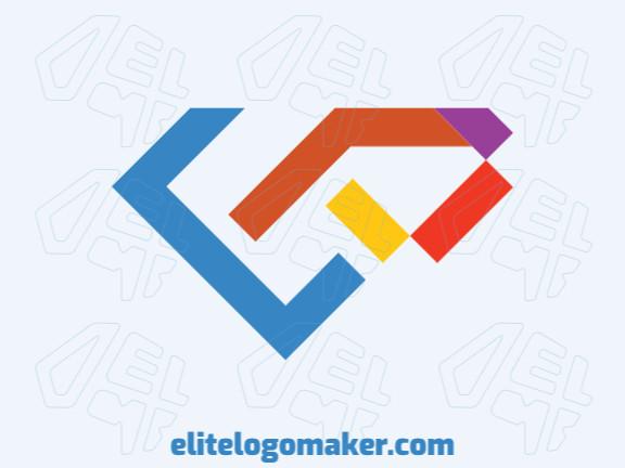"""Logotipo profissional composto por formas estilizadas formando um diamante combinado com uma letra """"P"""" com design criativo."""