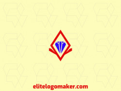 Logo available for download in the shape of a diamond with abstract design with red and blue colors.