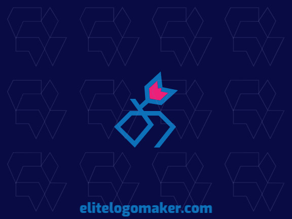 Minimalist logo in the shape of a diamond combined with a tulip composed of abstract shapes and refined design, the colors used in the logo are pink and blue.
