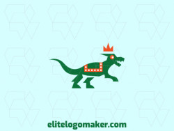 Animal logo with the shape of a dinosaur wearing a crown with abstract style and green and orange colors.
