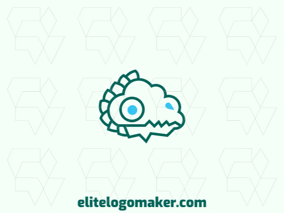 Creative logo design consisting of a dinosaur head and a cloud with refined design, the colors used are green and blue.