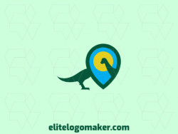 Stylized logo design with the shape of a dinosaur combined with a map icon with blue, yellow, and green colors.