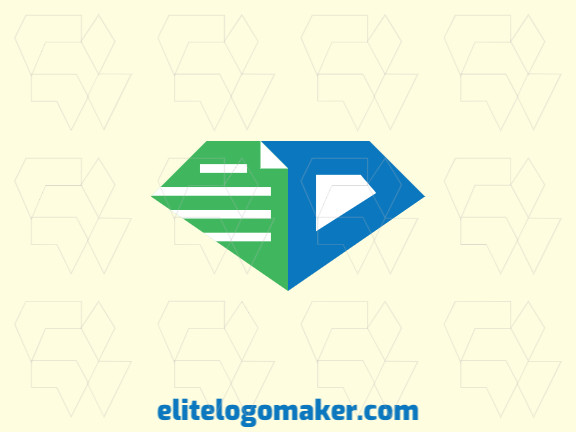 Logo design in the shape of a document combined with a diamond with stylized design and green and blue colors, this logo is ideal for any business.