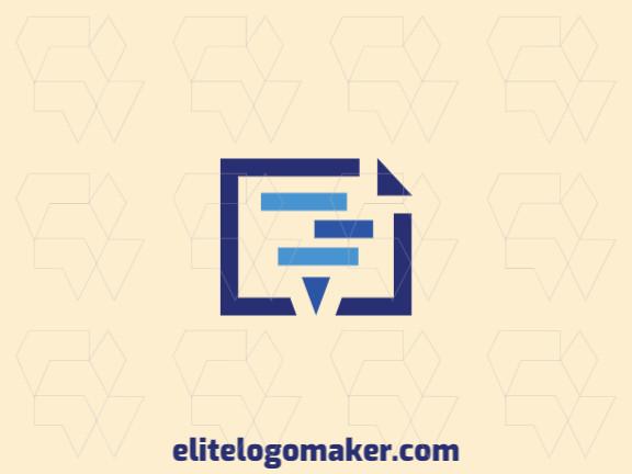 Logotipo profissional composto por formas estilizadas formando um furacão combinado com um documento com design minimalista, a cor utilizada foi azul.