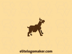 Dog logo composed of solid shapes and abstract style, the color used is brown.
