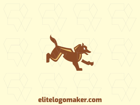 Animal logo with a refined design forming a dog with brown and yellow colors.