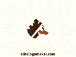 Simple and professional logo design in the shape of a dog head with simple style, the color used is brown.