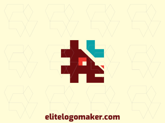 Vector logo in the shape of a dog combined with a hashtag with an abstract design, the colors used are blue, brown, and red.