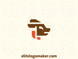Minimalist logo in the shape of a dog composed of abstract shapes and refined design, the colors used in the logo are orange and brown.