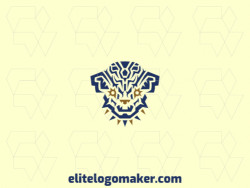 Abstract logo with solid shapes forming a dog head with a refined design, the colors used are blue and yellow.