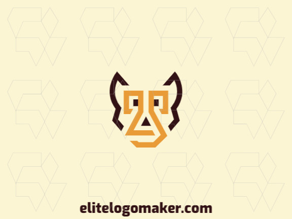 Animal logo in the shape of a dog head composed of abstracts shapes and lines with brown and yellow colors.