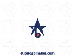 Vector logo in the shape of a dog combined with a star, with abstract style with blue and orange colors.