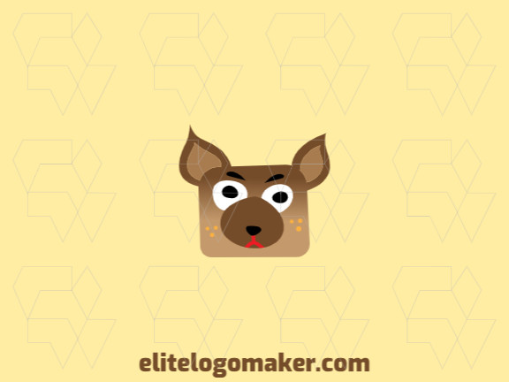 Vector logo in the shape of a dog with gradient style with brown, black, and red colors.