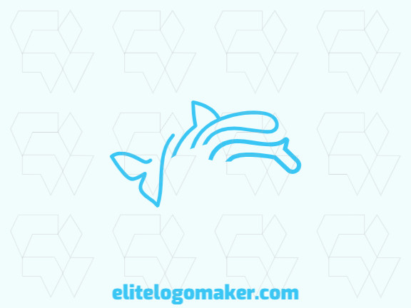 Animal logo in the shape of a dolphin composed of lines and abstract shapes with blue color.
