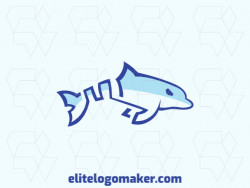 Animal logo in the shape of a dolphin swimming composed of abstract shapes and lines with blue color.