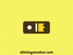 Minimalist logo created with abstract shapes forming a domino combined with a crown with brown and yellow colors.