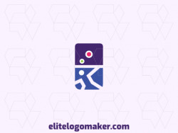Abstract logo design with the shape of a domino and a human body composed of simples shapes with blue, pink, purple, and green colors.