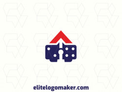 Creative logo in the shape of a domino combined with a house, with a refined design and abstract style.