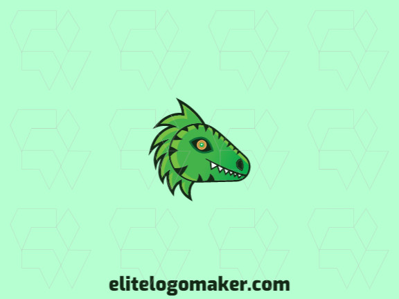 Vector logo in the shape of a dragon with gradient style with green, white, and yellow colors.