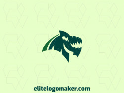 Dragon logo composed of solid shapes and abstract style, the color used is green.