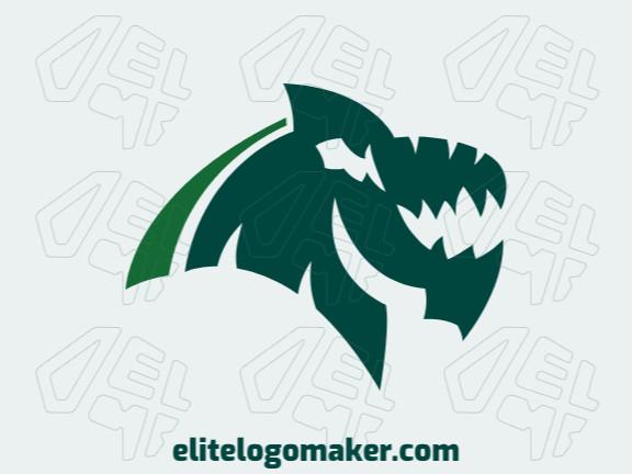 Logotipo elegante com formas abstratas formando um dragão com design abstrato e cor verde.