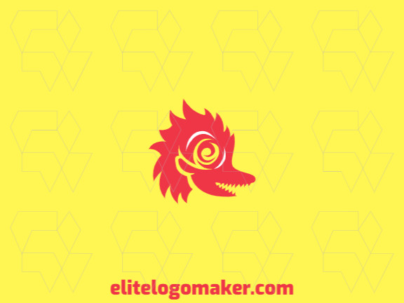Abstract logo with an incredible idea forming a dragon combined with a rose composed of solid shapes with red color.
