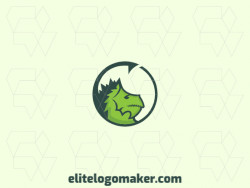 Circular logo in the shape of a dragon head composed of abstracts shapes with green colors.
