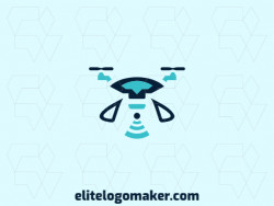 Symmetry logo in the form of a drone combined with a wifi icon composed of abstract shapes and refined design with black and blue colors.