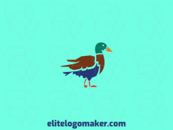 Cool logo in the shape of a duck with professional design and stylized style.