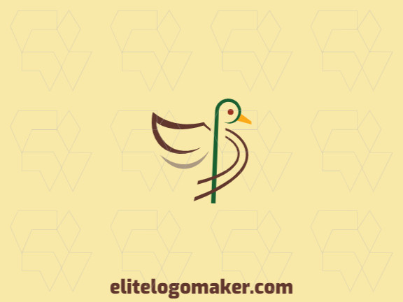 Ornamental logo with solid shapes forming a duck with a refined design, the colors used are yellow, brown, beige, and green.