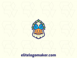 Mascot logo with the shape of a duck head with blue, beige, green, and yellow colors.