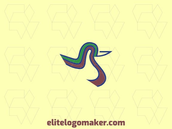 Animal logo design with the shape of a duck composed of abstract shapes and lines with brown, black and green colors.