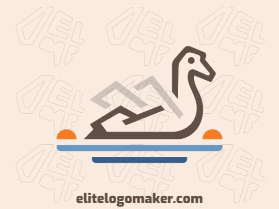 Ótimo logotipo com a forma de um pato com estilo de múltiplas linhas, fácil de aplicar em diferentes mídias.