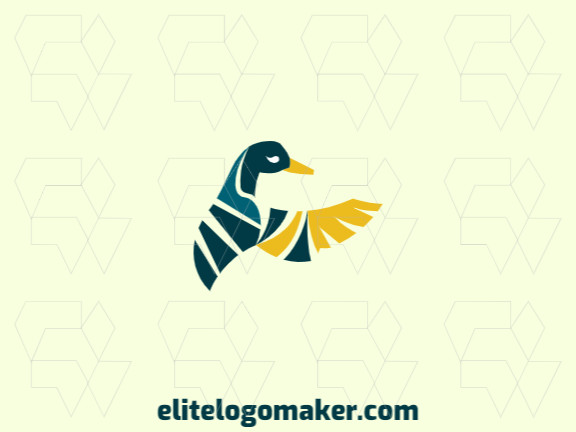 Abstract logo with a refined design forming a duck with blue and yellow colors.