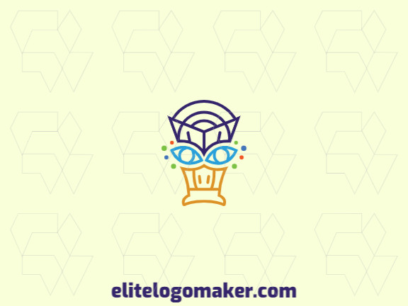 Outline logo design in the shape of a duck's head composed of lines with blue, green, purple, and yellow colors.