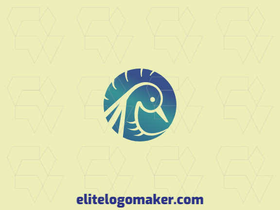 Elegant logo with abstract shapes forming a duck with gradient design with blue and green colors.