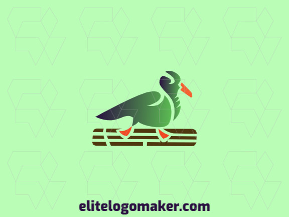 Modern logo in the shape of a duck combined with a skateboard with professional design and gradient style.