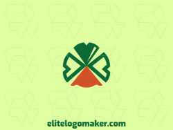 Symmetry logo in the form of a duck combined with a four leaf clover composed of abstract shapes and refined design with green and orange colors.