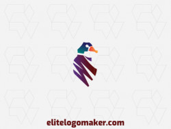 Gradient logo design in the shape of a duck composed of abstracts shapes with blue, orange, brown, yellow, and green colors.