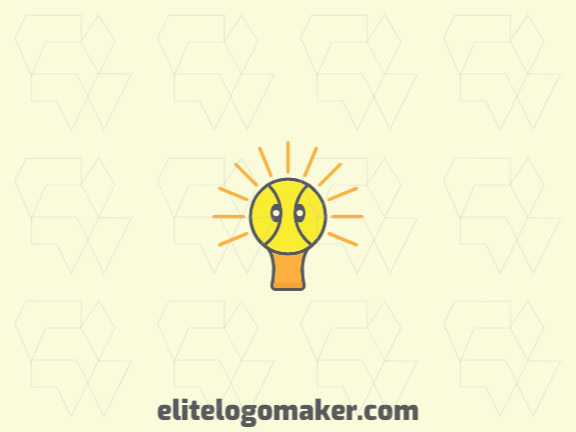Mascot company logo in the shape of a lamp combined with a duck head with the yellow, orange and gray colors.